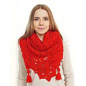 Аксессуары handmade. Livemaster - original item Shawl-bactus knitted openwork with tassels