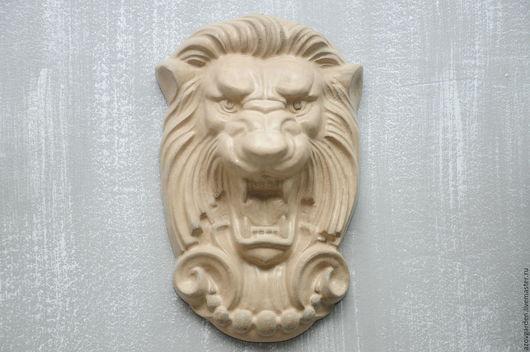 Интерьерные  маски ручной работы. Ярмарка Мастеров - ручная работа. Купить Панно настенное морда Льва №3 из бетона, серое, бежевое. Handmade.