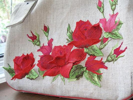 """Женские сумки ручной работы. Ярмарка Мастеров - ручная работа. Купить сумка """"Роскошные розы"""". Handmade. Бежевый, текстильная сумка"""