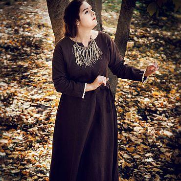 """Одежда ручной работы. Ярмарка Мастеров - ручная работа Льняное платье """"Шоколад"""". Handmade."""