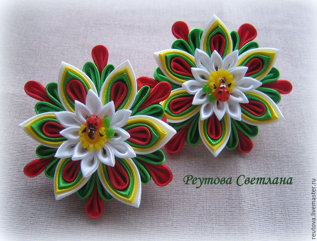 Hair scrunchies Summer day in the style of kanzashi, Hairpins and elastic bands for hair, Chernogolovka,  Фото №1