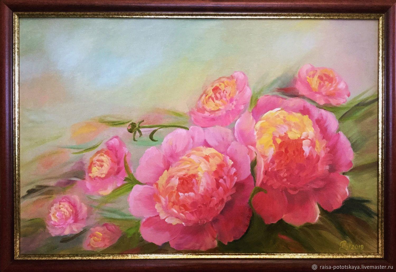 Painting Peonies Pink peonies oil, Pictures, Sergiev Posad,  Фото №1