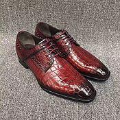 Обувь ручной работы handmade. Livemaster - original item Derby with brogation, made of genuine crocodile leather, handmade.. Handmade.