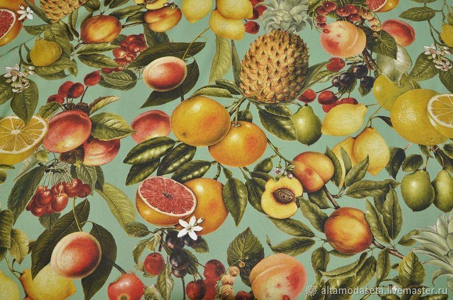 """Шитье ручной работы. Ярмарка Мастеров - ручная работа. Купить Вискоза с фруктами """"D&G"""", Италия. Handmade. Пошив на заказ"""