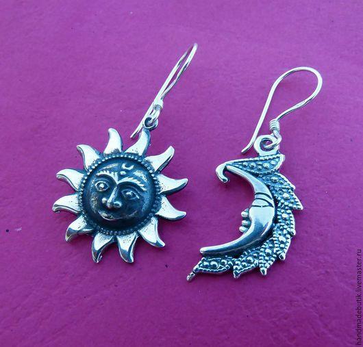Серьги ручной работы. Ярмарка Мастеров - ручная работа. Купить Серьги солнце и луна из серебра 925. Handmade.
