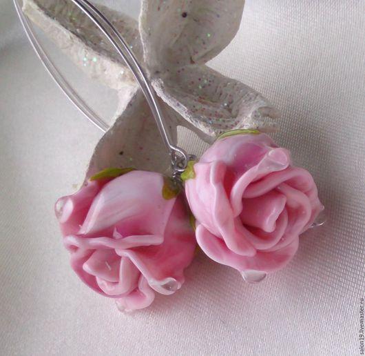 """Серьги ручной работы. Ярмарка Мастеров - ручная работа. Купить Серьги  """" Гламурные розы -3 """" Лэмпворк. Handmade."""