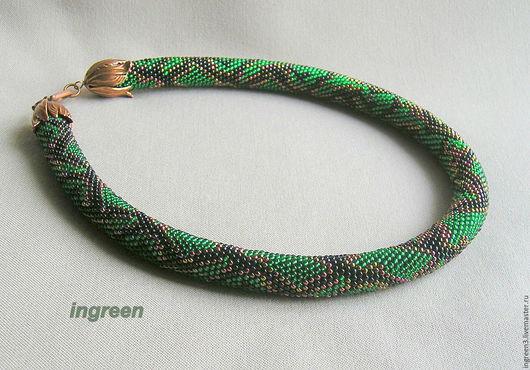 Колье, бусы ручной работы. Ярмарка Мастеров - ручная работа. Купить Жгут из бисера Изумрудная змея. Handmade. Зеленый, питон