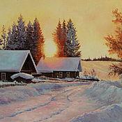 Картины и панно ручной работы. Ярмарка Мастеров - ручная работа Картина маслом,пейзаж, Яркое зимнее солнце. Handmade.