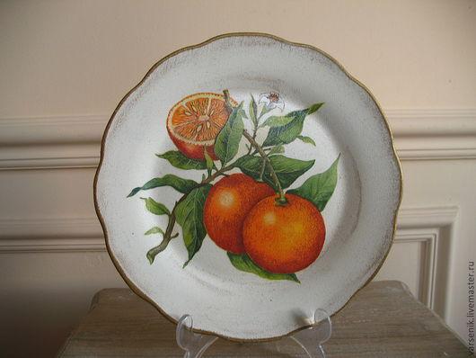 Декоративная посуда ручной работы. Ярмарка Мастеров - ручная работа. Купить Тарелка настенная Апельсин. Handmade. Декоративная тарелка, посуда