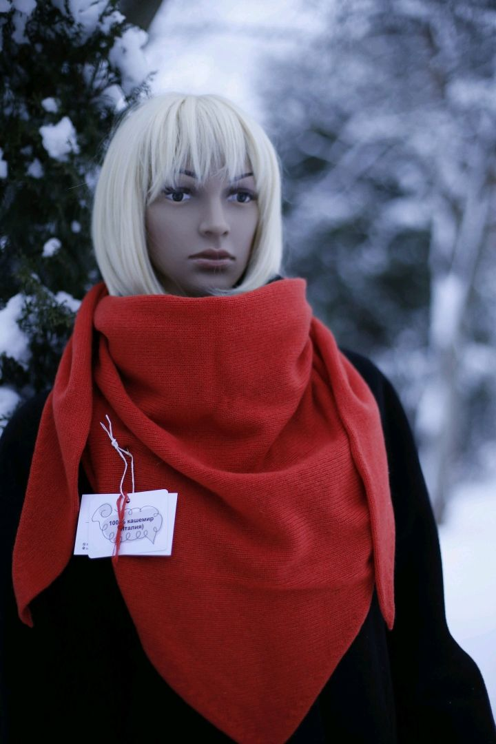 Scarf-bactus 'Red orange' from 100 % cashmere, Scarves, St. Petersburg,  Фото №1
