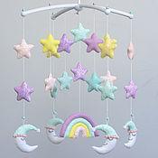Работы для детей, handmade. Livemaster - original item Mobiles on the crib: Moon Stars Rainbow. Handmade.