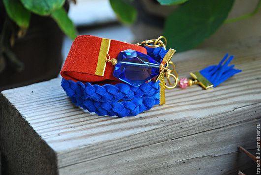 """Браслеты ручной работы. Ярмарка Мастеров - ручная работа. Купить Браслет """"Яркий"""".. Handmade. Рыжий, синий браслет, Оранжевое платье"""