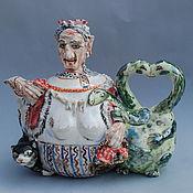 "Посуда handmade. Livemaster - original item ""Баба-Яга и Змей-Горыныч"".Чайник заварочный. Handmade."