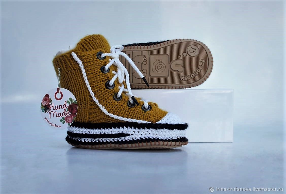 Обувь детская: вязаные кеды с резиновой подошвой, Обувь для детей, Бобров,  Фото №1