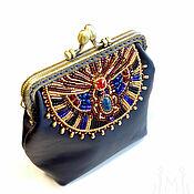 Сумки и аксессуары handmade. Livemaster - original item Handbag made of genuine leather, with beading, Egyptian Scarab. Handmade.