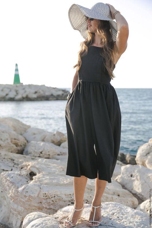 Пляжные брюки, шорты ручной работы. Ярмарка Мастеров - ручная работа. Купить Черный Льняной Комбинезон. Handmade. Черный