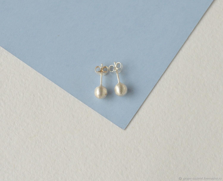 Round stud earrings in Matt silver, Earrings, St. Petersburg, Фото №1