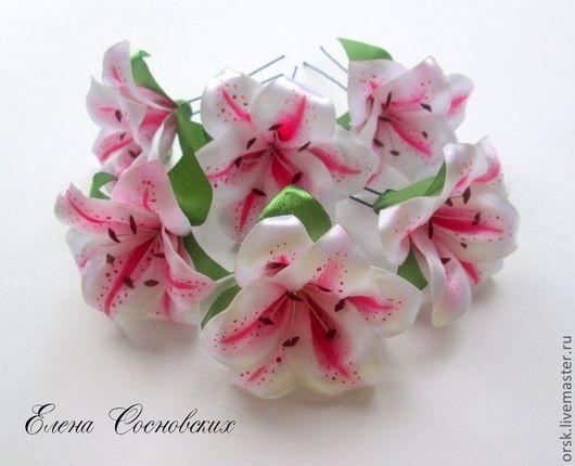 Заколки ручной работы. Ярмарка Мастеров - ручная работа. Купить Розовая лилия на шпильке. Handmade. Розовый, шпильки для волос