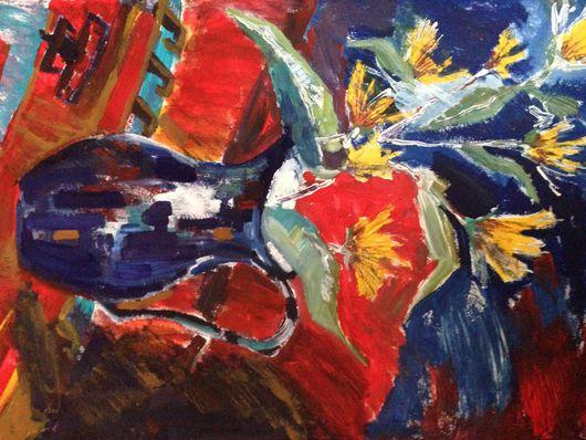 Натюрморт ручной работы. Ярмарка Мастеров - ручная работа. Купить Цветы. Handmade. Комбинированный, акриловые краски