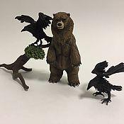 """Куклы и игрушки ручной работы. Ярмарка Мастеров - ручная работа Композия """"Медведь и вороны""""(медведь игрушка). Handmade."""