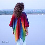 Одежда ручной работы. Ярмарка Мастеров - ручная работа Вязаное пончо из кауни цвета радуги.Большие размеры. Handmade.