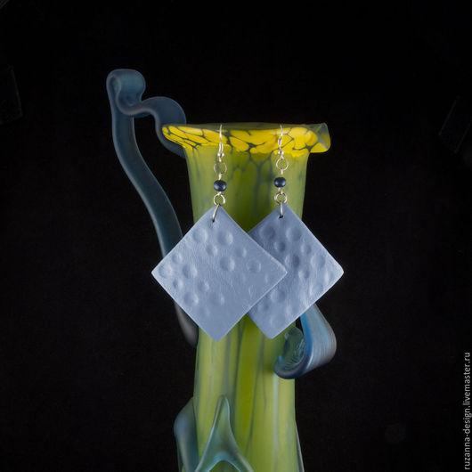"""Серьги ручной работы. Ярмарка Мастеров - ручная работа. Купить Голубые серьги c рельефным узором """"D'orblu"""". Handmade. Голубой"""
