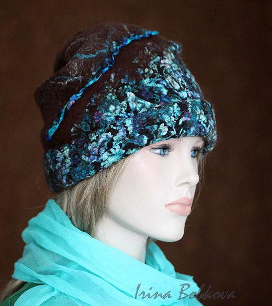Шапки ручной работы. Ярмарка Мастеров - ручная работа. Купить Валяная шапочка Цветник у горы Монсеррат. Handmade. Коричневый