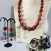 Колье ручной работы. Ярмарка Мастеров - ручная работа Колье и серёжки из красного коралла. Handmade.