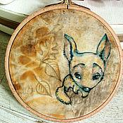 """Картины и панно ручной работы. Ярмарка Мастеров - ручная работа настенное панно """"Синяя лисичка"""". Handmade."""
