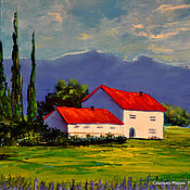 Картины и панно handmade. Livemaster - original item oil painting. Provence house in the mountains. Handmade.