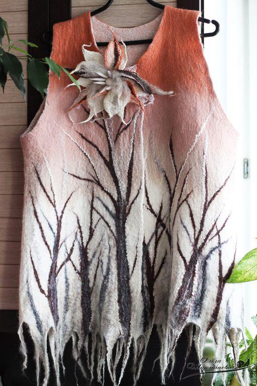 """Жилеты ручной работы. Ярмарка Мастеров - ручная работа. Купить Жилет валяный """"Зачарованный лес"""". Handmade. Жилет валяный, нунофелтинг"""