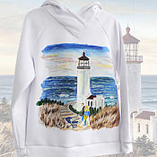 handmade. Livemaster - original item Sweatshirt sweatshirt hoodie Family with a couple, lighthouse and sea hand painted. Handmade.