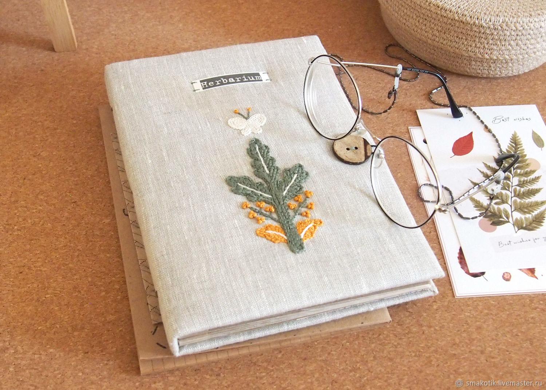 Альбом для гербария Forest (лён, вышивка, формат А5, крафт картон), Фотоальбомы, Краснодар,  Фото №1