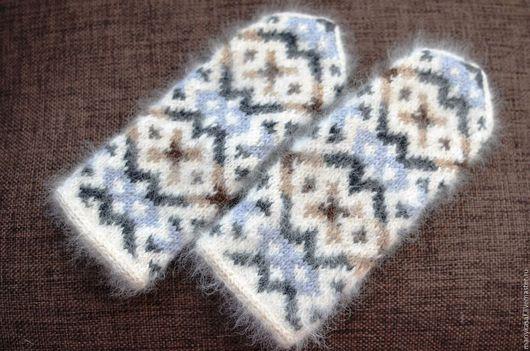 Варежки, митенки, перчатки ручной работы. Ярмарка Мастеров - ручная работа. Купить Варежки из собачьего пуха и альпаки. Handmade. Белый
