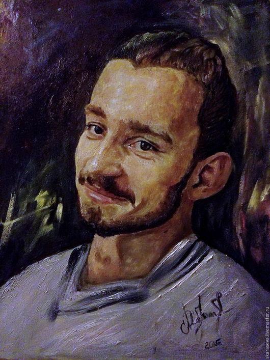 Люди, ручной работы. Ярмарка Мастеров - ручная работа. Купить Портрет молодого мужчины. Handmade. Комбинированный, портрет, картина маслом