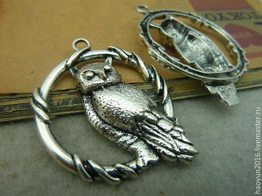 Для украшений ручной работы. Ярмарка Мастеров - ручная работа. Купить 2 шт металлические подвески старинное серебро филин C3644. Handmade.