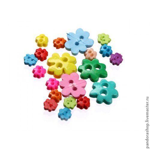Набор микро-пуговиц «Десерт», цветочки и клевер от 3 до 6 мм, пластиковые разноцветные, 20 шт в наборе - 150.00