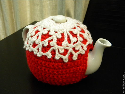 """Кухня ручной работы. Ярмарка Мастеров - ручная работа. Купить Грелка с чайником""""Красно-белая классика: узор"""". Handmade. Ярко-красный"""