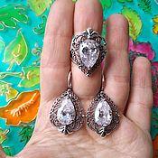 Украшения handmade. Livemaster - original item @ Jewelry set Vologda lace with cubic zirconia. RUSSIA. Handmade.