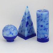 Свечи ручной работы. Ярмарка Мастеров - ручная работа Свечи: Синий мрамор. Handmade.