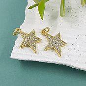 Материалы для творчества handmade. Livemaster - original item Pendant with zircons Star 20.5x13.5. 5085.  mm gold plated (). Handmade.