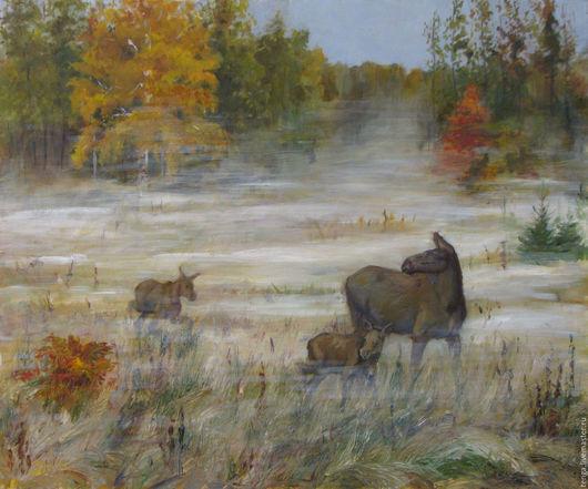 Животные ручной работы. Ярмарка Мастеров - ручная работа. Купить Утро в осеннем лесу. Handmade. Коричневый, лось, пейзаж, осень