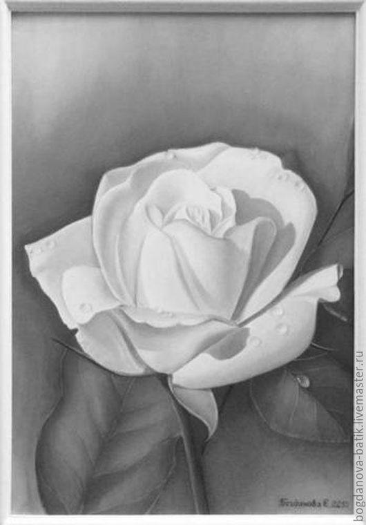 Роспись по шелку. Капли росы. Триптих Розы.