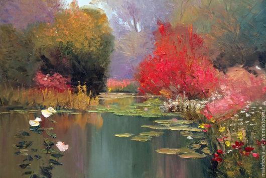 """Пейзаж ручной работы. Ярмарка Мастеров - ручная работа. Купить Картина """"Сад у воды"""". Handmade. Разноцветный, масло, холст на подрамнике"""