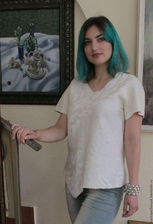 """Блузки ручной работы. Ярмарка Мастеров - ручная работа. Купить Валяная блузка """"Зефир"""". Handmade. Валяная одежда, нарядная блузка"""