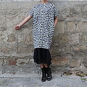 Одежда ручной работы. Ярмарка Мастеров - ручная работа Черно-белое леопардовое макси миди платье с шифоном, джемпер из хлопка. Handmade.