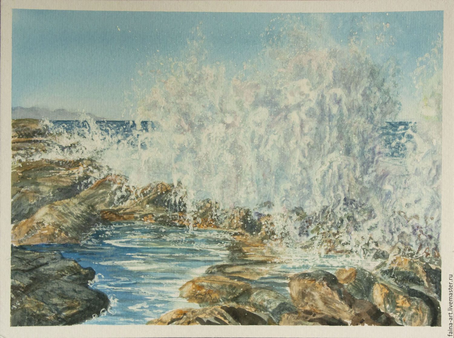 Fantastic waves of the sea. Cyprus. Watercolor, landscape, Pictures, Novosibirsk,  Фото №1