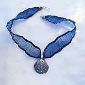 "Украшения handmade. Livemaster - original item silver pendent on a tape from organza ""Secret for two"". Handmade."