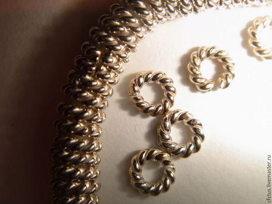 Для украшений ручной работы. Ярмарка Мастеров - ручная работа. Купить Серебро 925 пр.Колечко витое разъёмное 3.8 х 1 мм. Handmade.