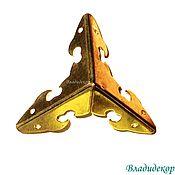 Материалы для творчества ручной работы. Ярмарка Мастеров - ручная работа Уголок металлический тройной М-44 золото защитный для дерева шкатулок. Handmade.